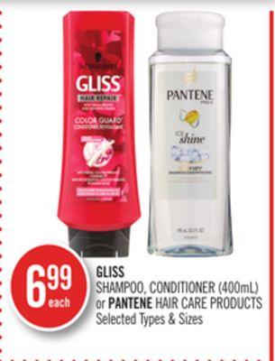 Gliss Shampoo - Conditioner (400ml) or Pantene Hair Care Products