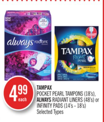 Tampax Pocket Pearl Tampons (18's) - Always Radiant Liners (48's) or Infinity Pads (14's - 18's