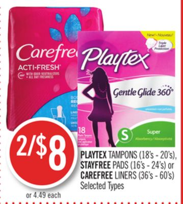 Playtex Tampons (18's - 20's) - Stayfree Pads (16's - 24's) or Carefree Liners (36's - 60's)