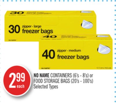 No Name Containers (6's - 8's) or Food Storage Bags (20's - 100's