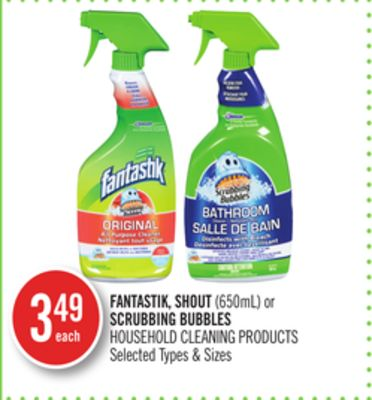 Fantastik - Shout(650ml) or Scrubbing Bubbles Household Cleaning Products