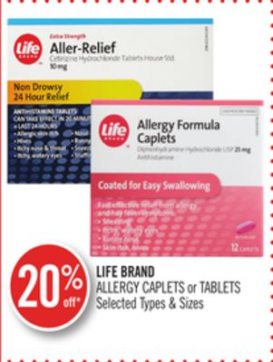 Life Brand Allergy Caplets or Tablets