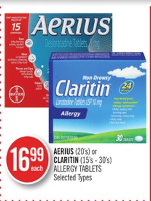 Aerius (20's) or Claritin (15's - 30's) Allergy Tablets