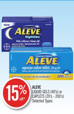 Aleve Liquid Gels (40's) or Caplets (20's - 200's)