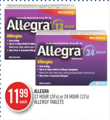 Allegra 12 Hour (24's) or 24 Hour (12's) Allergy Tablets