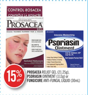 Prosacea Relief Gel (21.25g) - Psoriasin Ointment (113g) or Fungicure Anti-fungal Liquid (30ml)