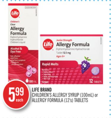 Life Brand Children's Allergy Syrup (100ml) or Allergy Formula (12's) Tablets