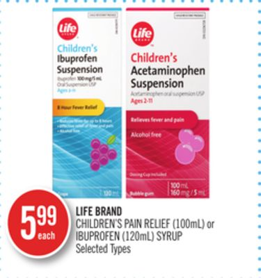 Life Brand Children's Pain Relief (100ml) or Ibuprofen (120ml) Syrup