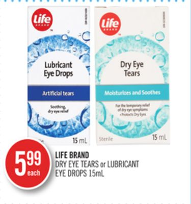 Life Brand Dry Eye Tears or Lubricant Eye Drops