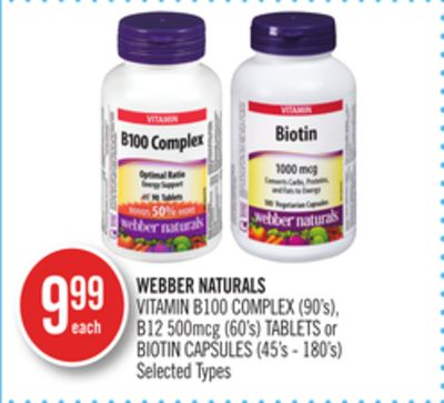 Webber Naturals Vitamin B100 Complex (90's) - B12 500mcg (60's) Tablets or Biotin Capsules (45's - 180's)