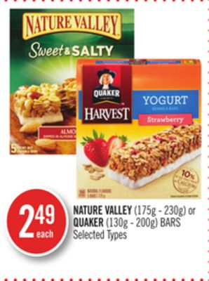 Nature Valley (175g - 230g) or Quaker (130g - 200g) Bars