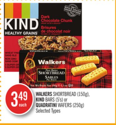 Walkers Shortbread (150g) - Kind Bars (5's) or Quadratini Wafers (250g)