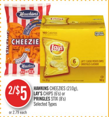 Hawkins Cheezies (210g) - Lay's Chips (6's) or Pringles Stix (8's)