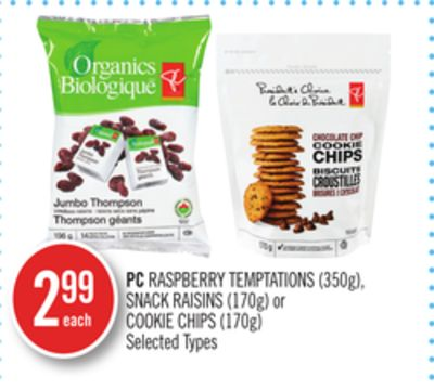 PC Raspberry Temptations (350g) - Snack Raisins (170g) or Cookie Chips (170g)