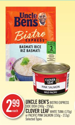 Uncle Ben's Bistro Express Side Dish (240g - 250g) - Clover Leaf White Tuna (170g) or Pacific Pink Salmon (150g - 213g)