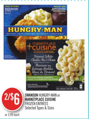 Swanson Hungry-man or Marketplace Cuisine Frozen Entrées