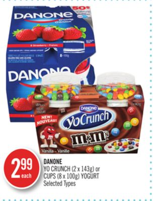 Danone Yo Crunch (2 X 143g) or Cups (8 X 100g) Yogurt