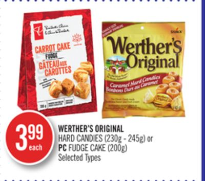 Werther's Original Hard Candies (230g - 245g) or PC Fudge Cake (200g)