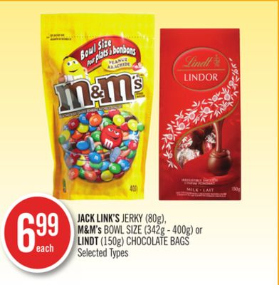 Jack Link's Jerky (80g) - M&m's Bowl Size (342g - 400g) or Lindt (150g) Chocolate Bags