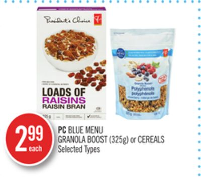 PC Blue Menu Granola Boost (325g) or Cereals