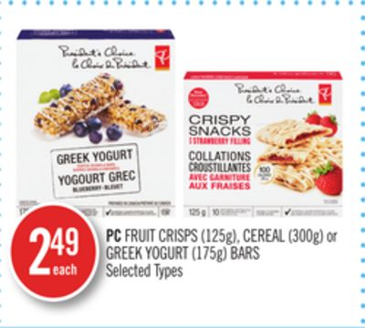 PC Fruit Crisps (125g) - Cereal (300g) or Greek Yogurt (175g) Bars