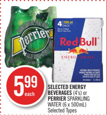 Selected Energy Beverages (4's) or Perrier Sparkling Water (6 X 500ml)