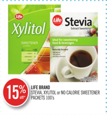 Life Brand Stevia - Xylitol or No Calorie Sweetener Packets 100's