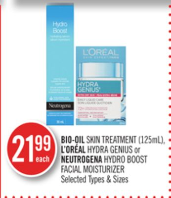 Bio-oil Skin Treatment (125ml) - L'oréal Hydra Genius or Neutrogena Hydro Boost Facial Moisturizer