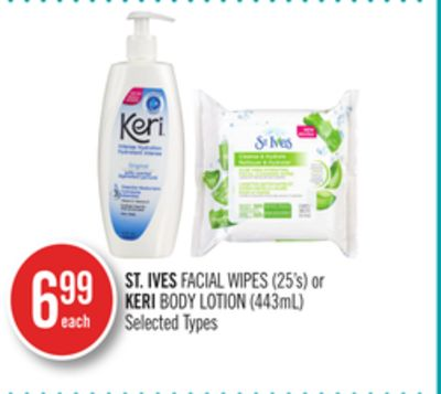 St. Ives Facial Wipes (25's) or Keri Body Lotion (443ml)