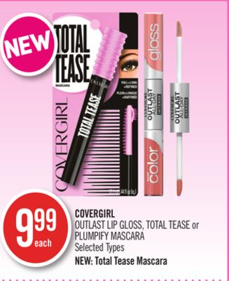 Covergirl Outlast Lip Gloss - Total Tease or Plumpify Mascara
