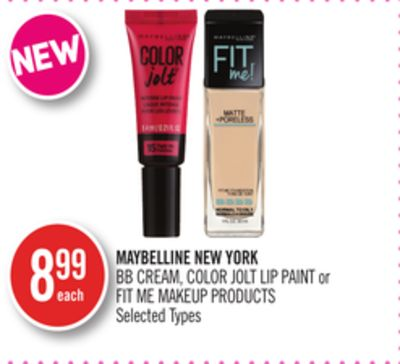 Maybelline New York Bb Cream - Color Jolt Lip Paint or Fit Me Makeup Products