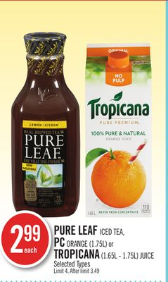 Pure Leaf Iced Tea - PC Orange (1.75l) or Tropicana (1.65l - 1.75l) Juice