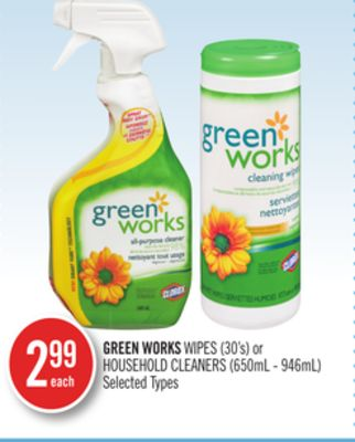 Green Works Wipes (30's) or Household Cleaners (650ml - 946ml)
