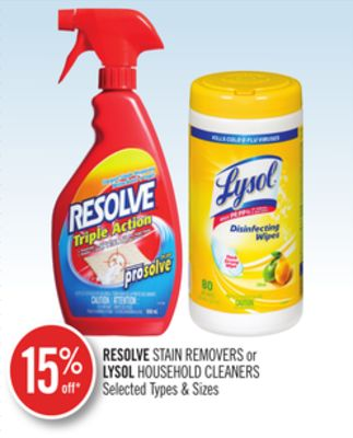 Resolve Stain Removers or Lysol Household Cleaners
