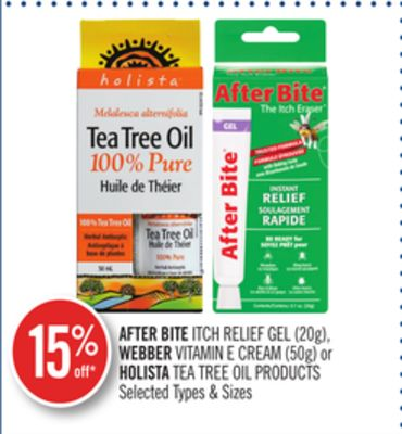 After Bite Itch Relief Gel (20g) - Webber Vitamin E Cream (50g) or Holista Tea Tree Oil Products