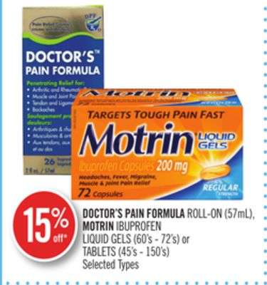 Doctor's Pain Formula Roll-on (57ml) - Motrin Ibuprofen Liquid Gels (60's - 72's) or Tablets (45's - 150's)