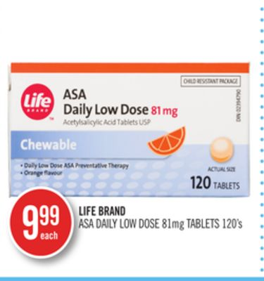 Life Brand Asa Daily Low Dose 81mg Tablets