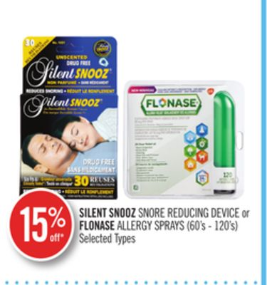 Silent Snooz Snore Reducing Device or Flonase Allergy Sprays
