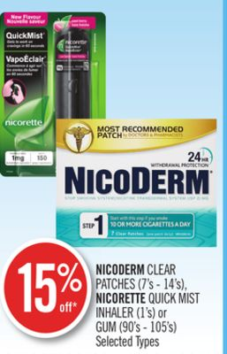 Nicoderm Clear Patches (7's - 14's) - Nicorette Quick Mist Inhaler (1's) or