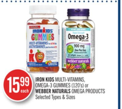 Iron Kids Multi-vitamins - Omega-3 Gummies (120's) or Webber Naturals Omega Products