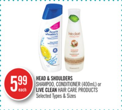 Head & Shoulders Shampoo - Conditioner (400ml) or Live Clean Hair Care Products