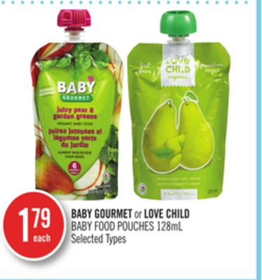 Baby Gourmet or Love Child Baby Food Pouches