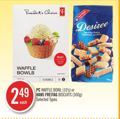 PC Waffle Bowl (10's) or Hans Freitag Biscuits (300g)