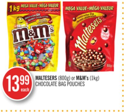 Maltesers (800g) or M&m's (1kg) Chocolate Bag Pouches