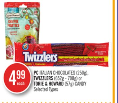 PC Italian Chocolates (250g) - Twizzlers (652g - 708g) or Torie & Howard (57g) Candy