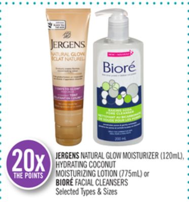 Jergens Natural Glow Moisturizer (120ml) - Hydrating Coconut Moisturizing Lotion (775ml) or Bioré Facial Cleansers