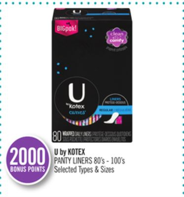 U By Kotex Panty Liners 80's - 100's