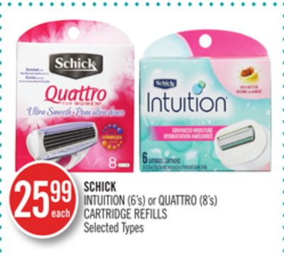 Schick Intuition (6's) or Quattro (8's) Cartridge Refills