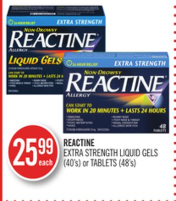 Reactine Extra Strength Liquid Gels (40's) or Tablets (48's)
