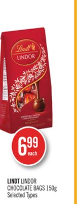 Lindt Lindor Chocolate Bags 150g